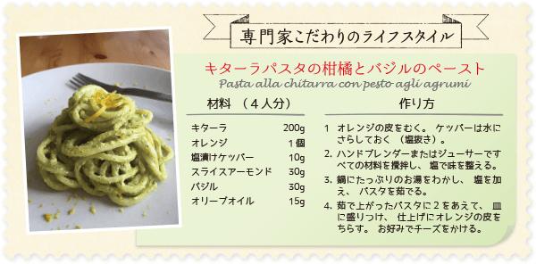 キターラパスタの柑橘とバジルのペースト レシピ